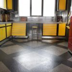 yellow cabinets in a garage