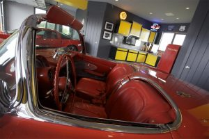 interior of old red car