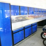 blue cabinets with motorcycles