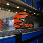 blue cabinets with orange helmet