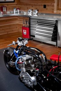 metal cabinets and motorcylce