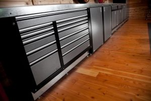 metal cabinets on hardwood floor