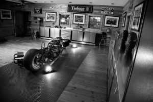 black and white photo of a garage