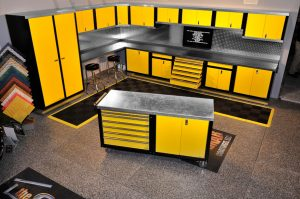 yellow cabinet set up