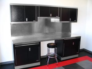 black and silver cabinet setup