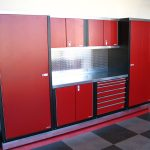 red cabinet setup in a garage